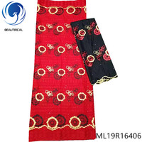BEAUTIFICAL swiss cotton lace red voile african lace 7 yards swiss lace fabric voile 2019 ML19R164