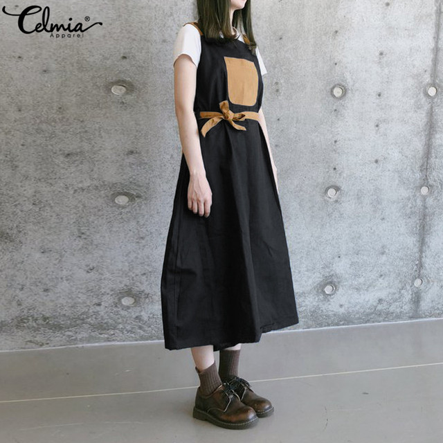 e7f54ee99403f Celmia Plus Size Overalls Dress Vintage Women Linen Strap 2019 Summer  Casual Loose Patchwork Belted Robe Pinafore Vestidos