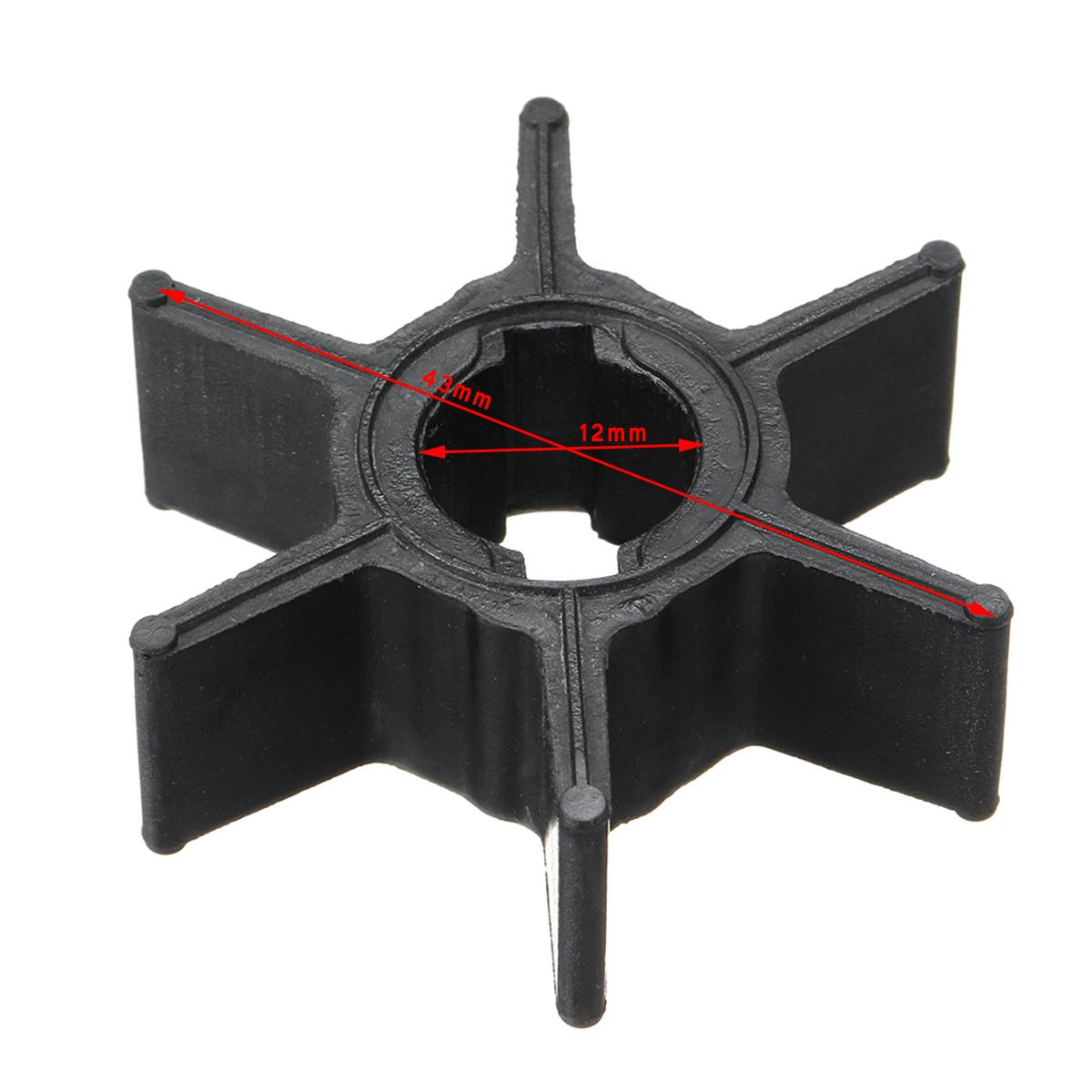 47-952892 Water Pump Impeller Replacement for Mercury 2.2-3.3HP Outboard Motor 6 Blades Black Rubber Boat Parts & Accessories