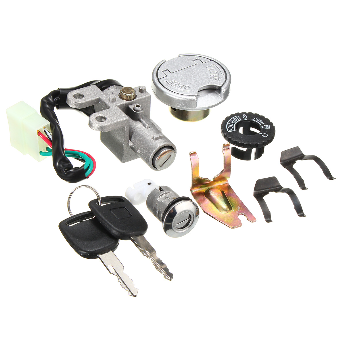 Unverisal Motorcycle Ignition Lock Switch Fuel Tank Cap 2 Keys For GY6 50CC Baotian Benzhou Buffalo Ering Jmstar Jack Fox REX