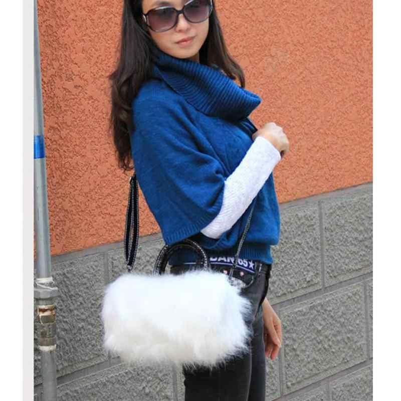 Baru Indah Imitasi Bulu Kelinci Tas Kecil Messenger Tas untuk Wanita Tas Selempang Bahu Musim Dingin Bolsa Feminina Clutch Wanita Bolsas
