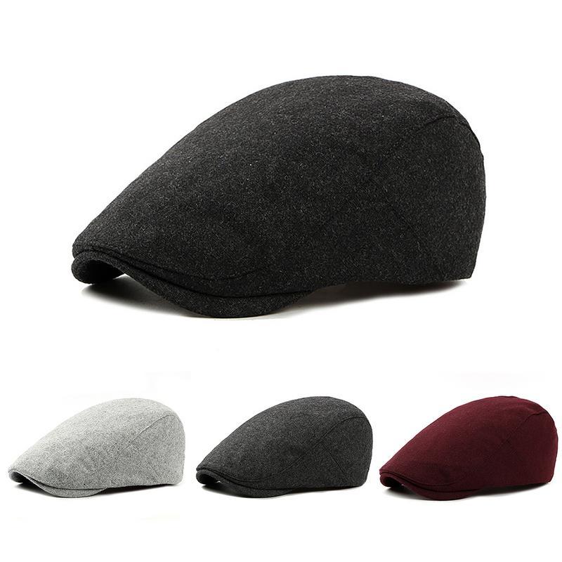 British Style 2019 Autumn Winter Men Berets Cap Hats Wool Fashion Flat Caps For Men Hat Classic Vintage Beret Cap Chapeau Homme