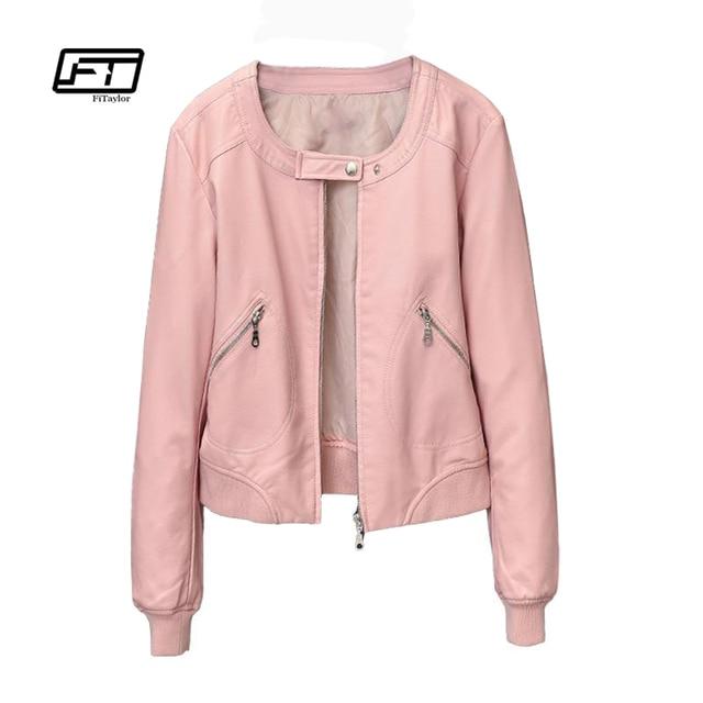 d8453c97bef Fitaylor 2019 Faux Leather Jacket Women O-neck Zipper Casual Jackets Female  Short Biker Coat Plus Size S-4XL Basic Outwear