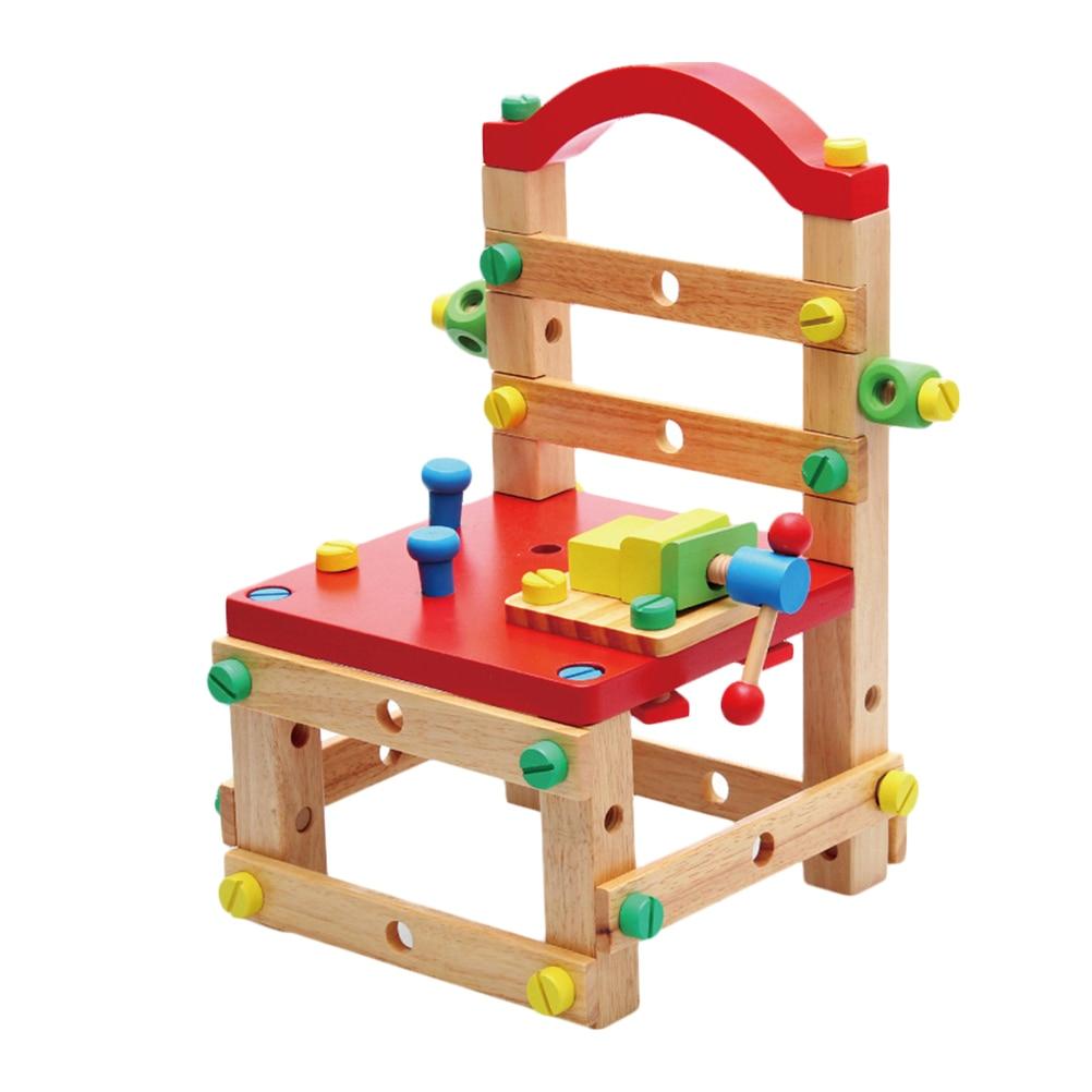 1 pièces Creative bricolage Démontage Chaise jouet combiné Coloré En Bois Arts et Artisanat bricolage Jouets Cadeau Pour Bébé Enfants