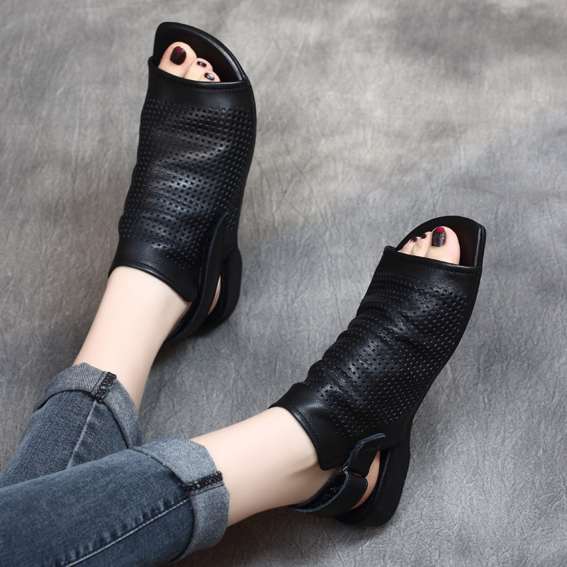 Women Leather Sandals Black Hollow Out Shoes Summer Low Heels Casual Genuine Leather Women Sandals Handmade Retro Shoes 2019
