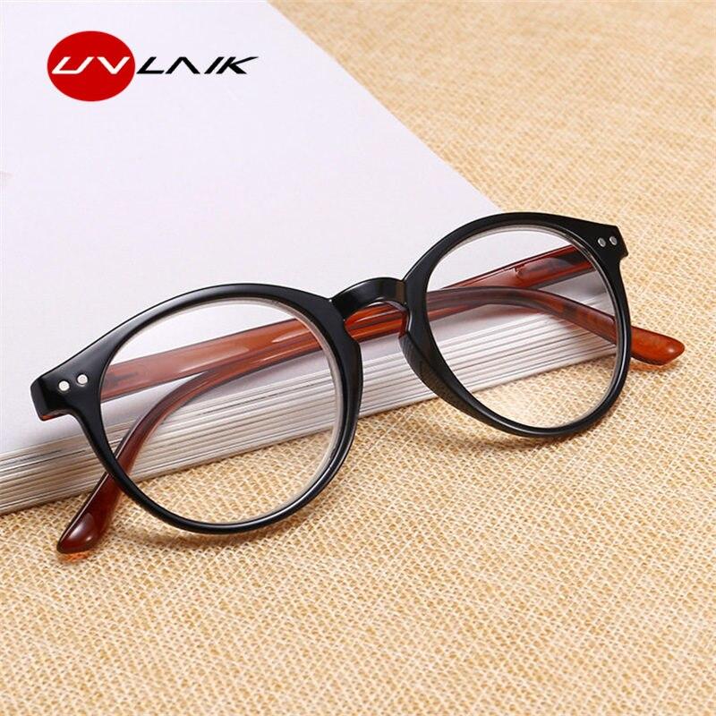 UVLAIK Unbreakable Reading Glasses Women Men Ultralight Anti Fatigue Round Prescription Glasses PC Presbyopic Magnifier