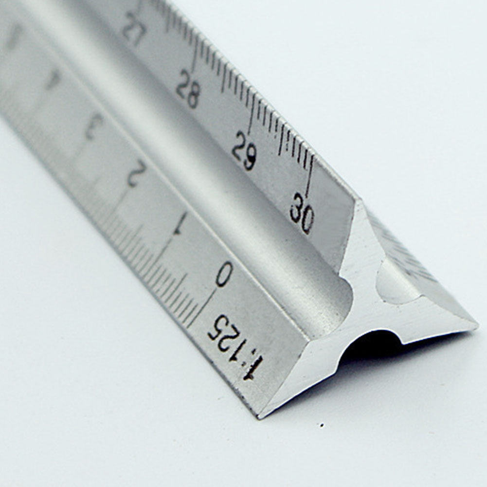 30cm Lightweight Clear Triangle Aluminum Alloy Ruler Architect Silver Accurate Engineer Scale Technical High Quality
