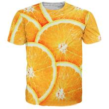 ZACOO Men Women Fashion 3D Fruit Orange Printing Casual Short Sleeve T-shirt