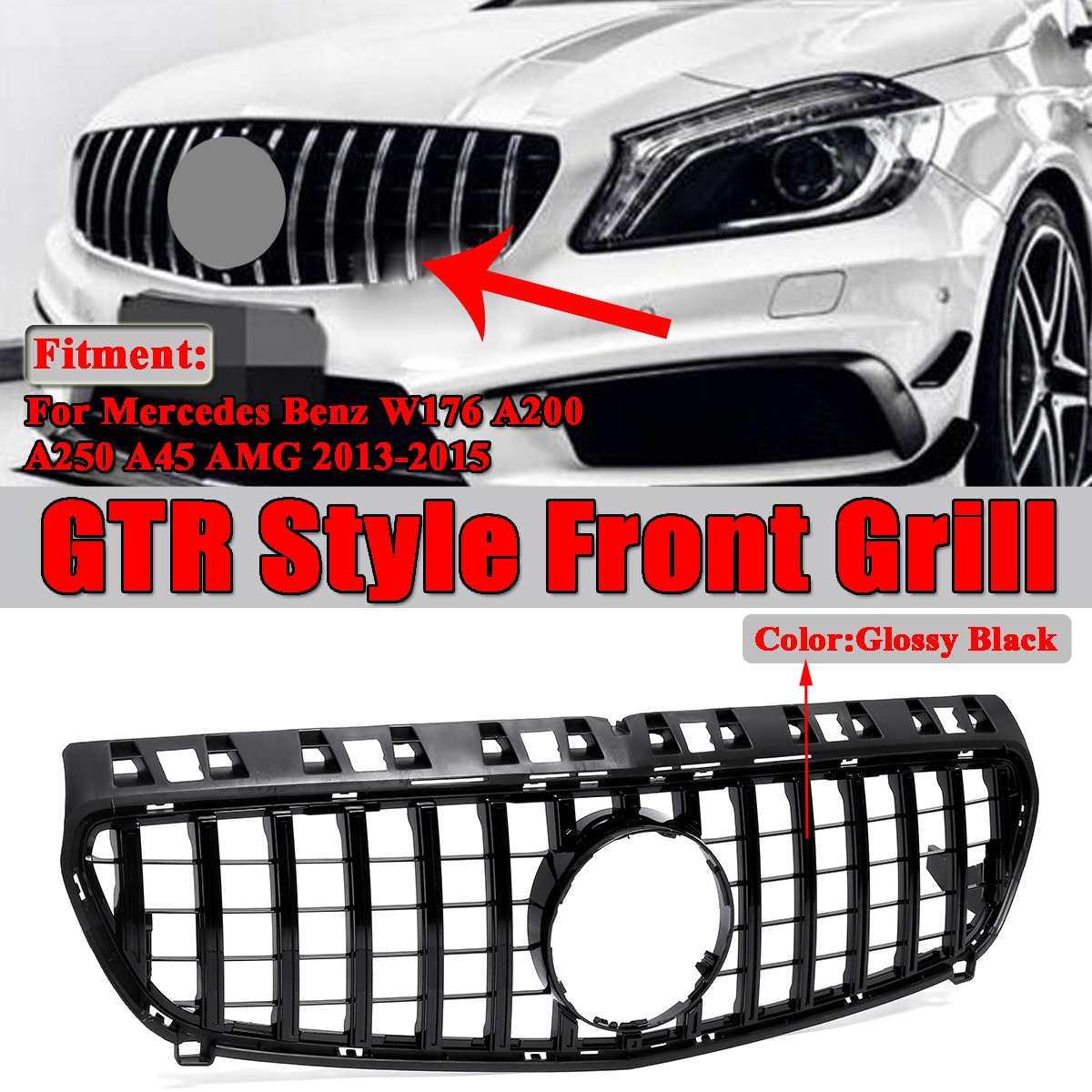 1x grilles de gril de course avant de Style de voiture GTR pour Mercedes pour Benz Facelift W176 A180 A200 A250 A45 AMG 2013-2015 sans emblème