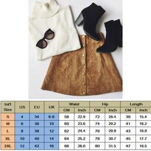 Image 3 - Falda de tubo de cintura alta para mujer, Bodycon con botón, de cuero de ante, Mini falda de mujer, camisa corta de moda