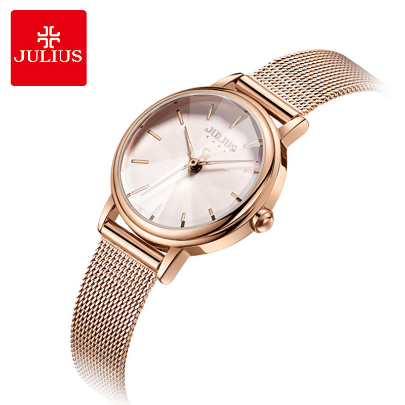 Julius Fashion Women Watches Luxury Rose Gold Ladies Quartz Wrist Watch Stainless Steel Female Bracelet Watch Relogio Feminino julius women quartz clock watches stainless steel mesh belt ladies bracelet wrist watch thin dial female watch relogio feminino