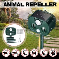 2019 Solar Powered Animal Repeller Waterproof PIR Sensor Outdoor Garden Anti Cat Dog USB Ultrasonics Solar Alarm Drive Repeller