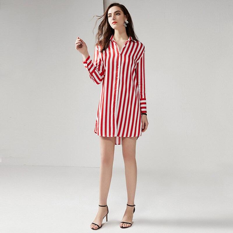 e7dc739dbfe2 Longues De Femmes Red Stripes Et Style Printemps white Chemise Lâche D été  Longue Sexy À Rayures Étoile Manches Robe 1915 Mini F7qXAA