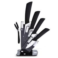 6pcs Kitchen Knife Set Fruit Vegetable Paring Kit Slip proof Handle Ceramic Peeler Knives Holder Acrylic knife Kitchen Tools