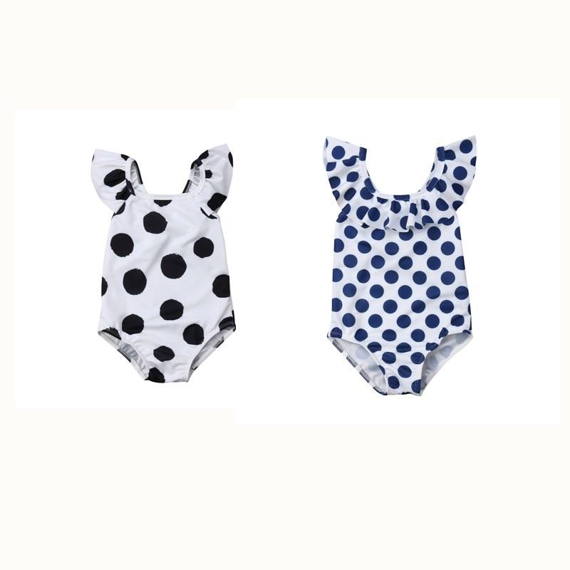 Hot Koop Peuter Kinderen Dot Patroon Ruches Badpak 2019 Zomer Baby Meisjes Badmode Jumpsuit Badpak Outfits Kleding 1-6y