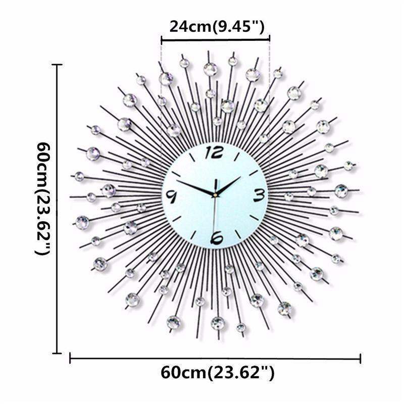 2019 luxe diamant horloge murale fer Art métal cristal 3D grande horloge murale ronde montre miroir diamant suspendus horloges décor à la maison - 3