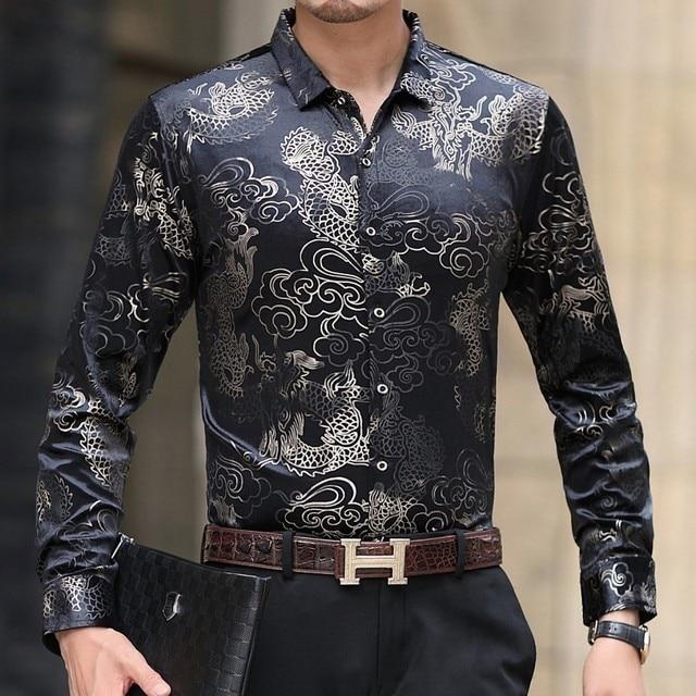 c6cfa21e42a6fb Hombre Hawaiana Flower Shirts Mens Long Sleeve Shirt Men Streetwear Slim  Fit Black Velvet Shirt Camisa Hombre Camisa Masculina