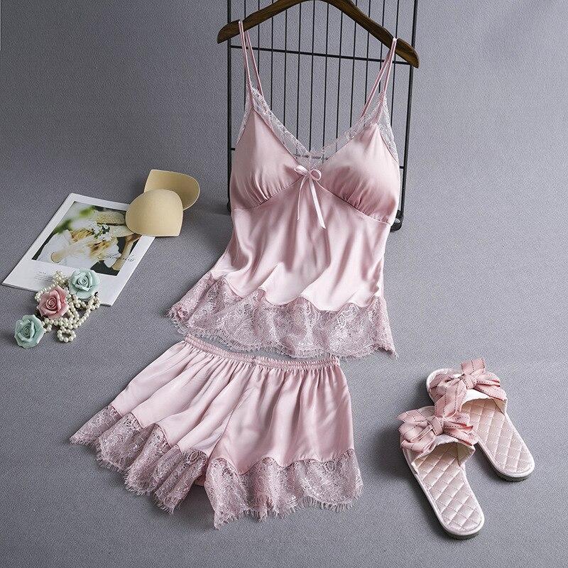 2019 Sleep Lounge Pajamas Set Sexy Satin Sleepwear Women Summer Pyjama Flower Silk Pajamas For Women With Chest Pads