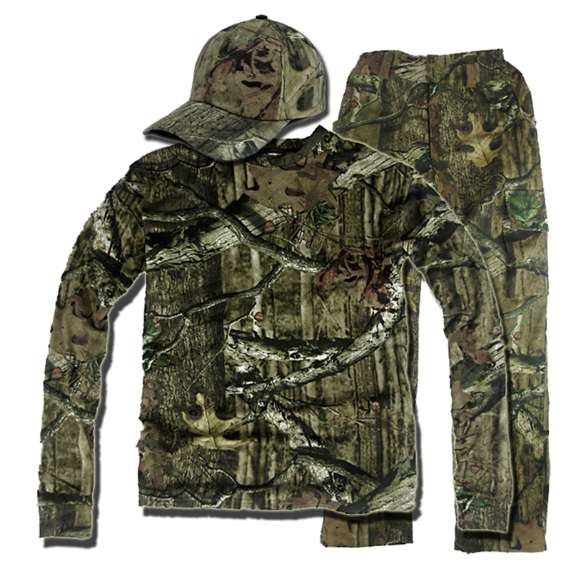 4XL Outdoor Bionic Camouflage Hunting Fighting Suits Shirt Pants Hat Tactical Breathing Ghillie Sniper Military Combat Clothing