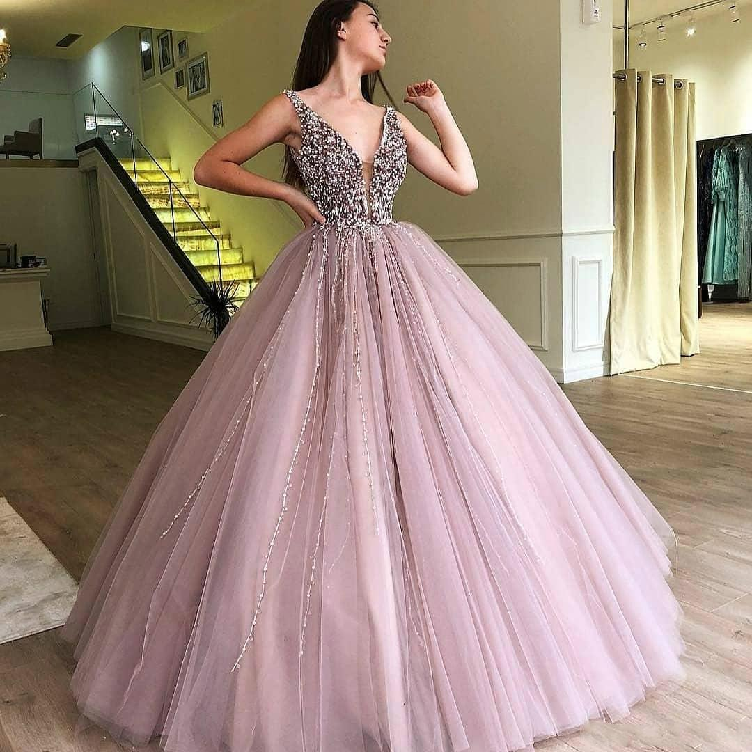 SSYFashion New Luxury Beading Evening Dress Purple Pink V neck Sleeveless Floor length A line Prom Formal Gown Robe De Soiree