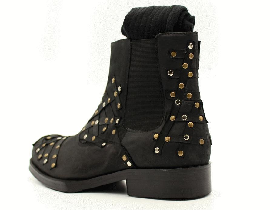 0c90a5305 Americano Cera Parche Black Zapatos Europeo Vaca Remache Cuero Aceite Estilo  De Botas Hombres Y Los Ez6q4