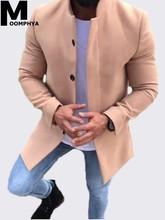 Moomphya 2019 New Arrived Long style coat men Solid color windbreaker trench coat men Long sleeve mens overcoat jacket outwear