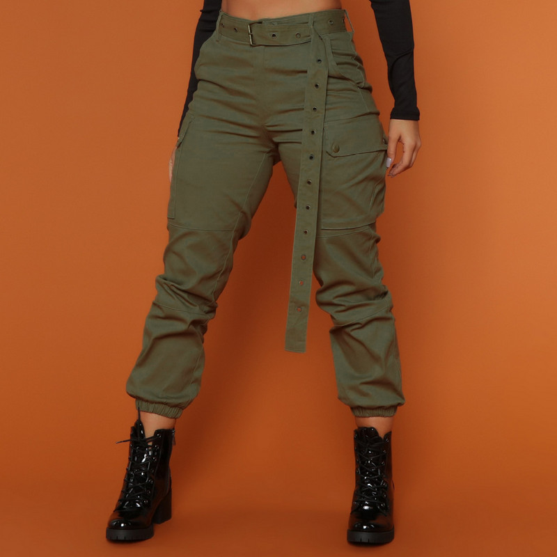 High Waist Camouflage Loose Joggers Army Green Women's Casual Cargo Military Combat Trousers 2019 New Pencil Pants Without Belt