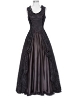 Retro Victorian Dress Lady Gown Gothic Theater Steampunk Lace&Satin Formal Dress