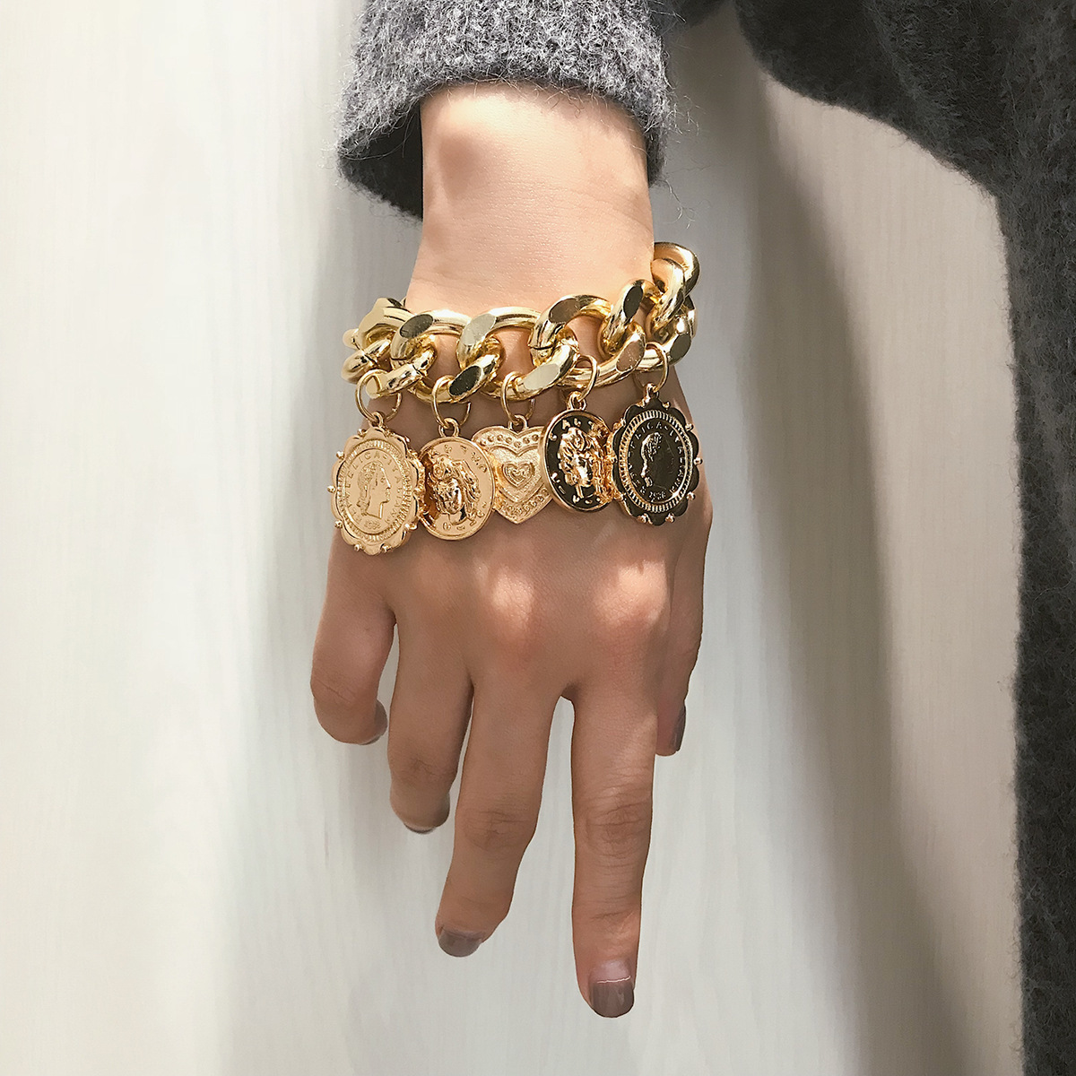 KingDeng Big Gold Bracket Punk Chain Coins Retro Jewelry Female Personality Relief Portrait Geometric Bracelets HipHop 2019 Man
