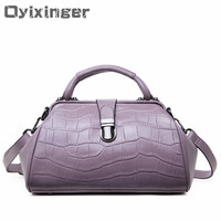 2019 Genuine Leather Bags Designer For Womens Alligator Clasp Pillow Luxury Handbags Women Totes Bags Real Leather Messenger Bag