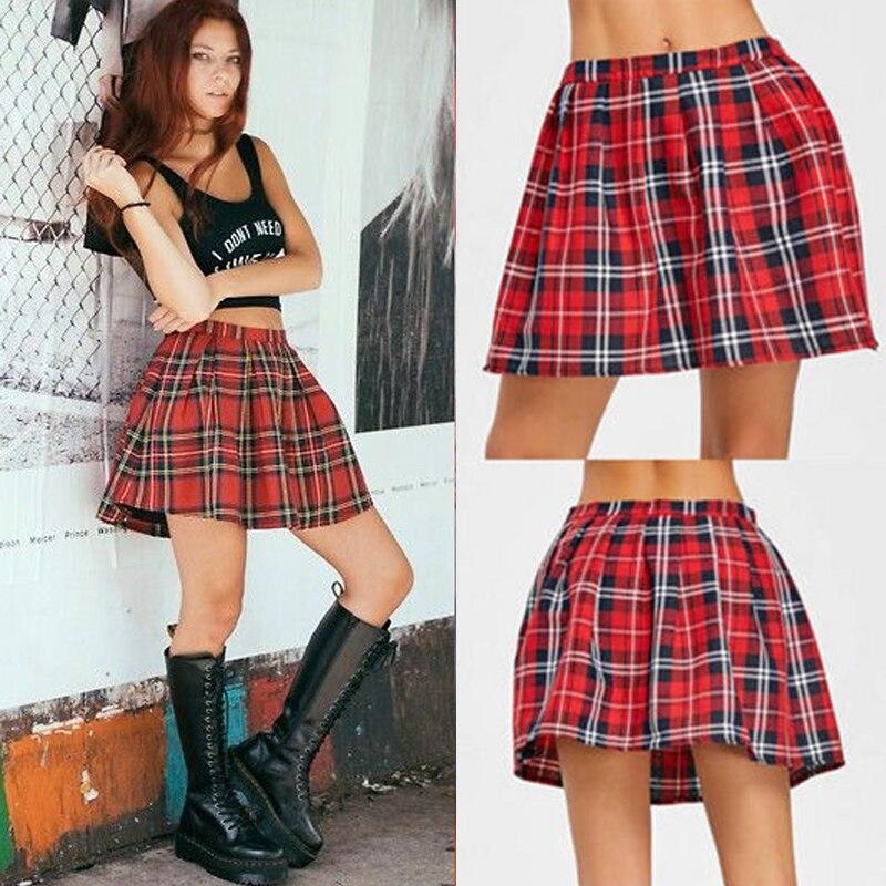 2019 New Fashion Women Ladies Mini Skirts High Waist Red Plaid Sexy A-Line Mini Skirts