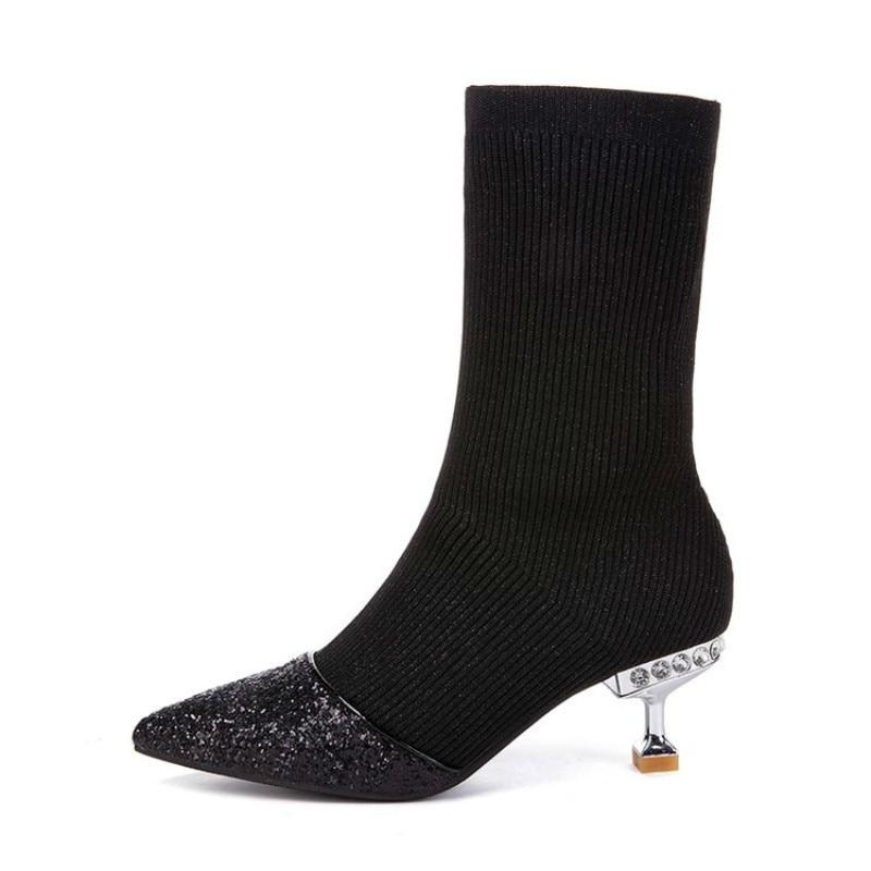 Botines Con De Y En Tubo El Punto Botas Mujer Hilo negro Elástico 2019 Black Nuevo Señaló Invierno Calcetines Zapatos Stiletto Otoño Tobillo qxUwg0O