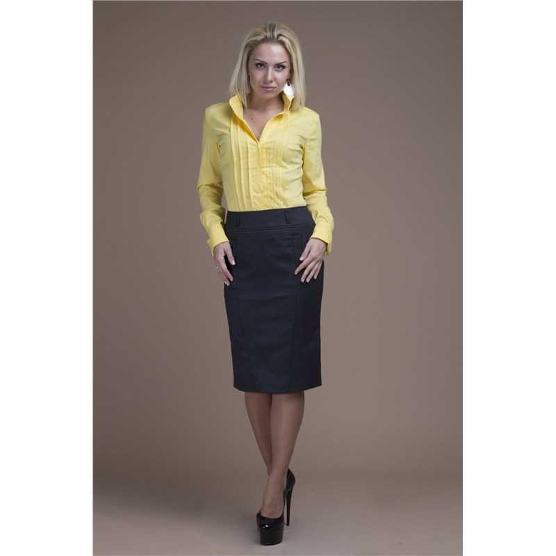 Office skirt with pockets and zipper in the back split back plaid skirt