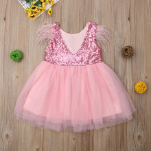 Christmas Kid Red Dress For Girl Toddler Baby Girl Sequins Princess Tutu Dress Feathers Sleeve Girl Party Wedding Birthday Dress