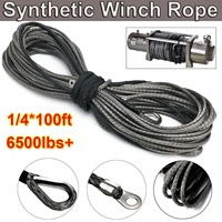 30m Towing Rope 6500lbs Synthetic Winch Grey Recovery Rope for ATV UTV Off Road 1/4 Inch 100ft Winch Cable Towing Rope