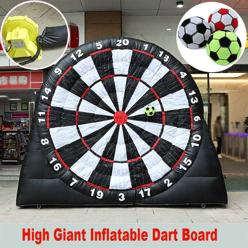 Tablero de dardos de fútbol inflable de 3 metros de altura, juegos deportivos de fútbol gigante, tablero de dardos inflables con soplador de aire de 220 V, juego al aire libre