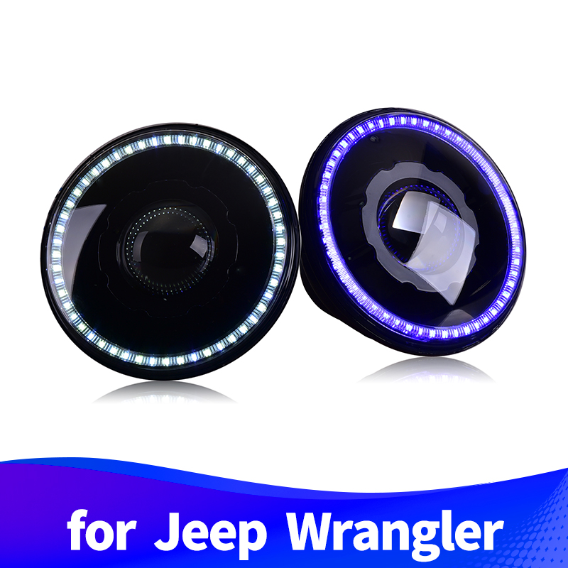 Headlight-Assembly Jeep Wrangler Running-Light Daytime for LED Halo DRL Withe Blue
