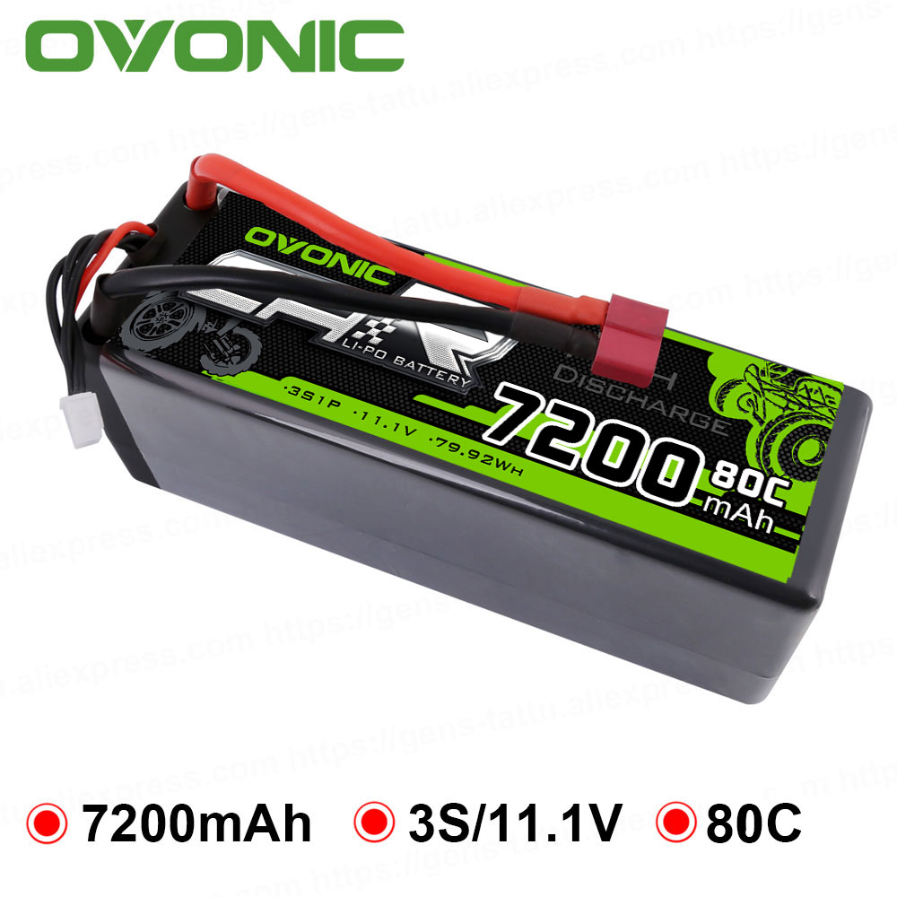 OVONIC 7200mAh Lipo 3S Batteries Pack 11.1V 80C Deans Plug Hard Case Power for Axial Redcat Racing 1/8 1/10 RC Car Buggy Truck image
