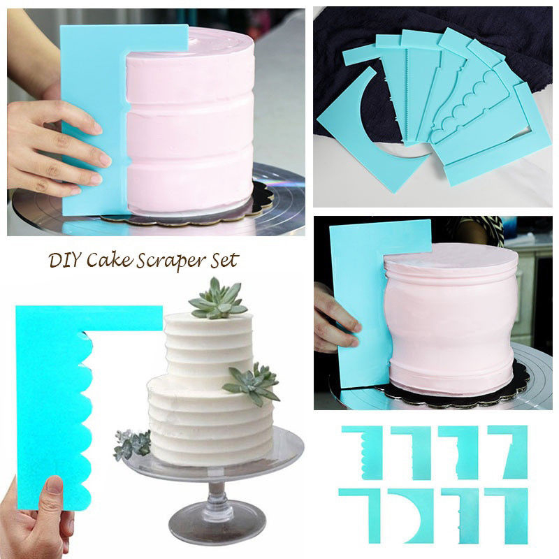 Adjustable Fondant Cake Scraper Icing Piping Cream Spatula Edge Smoother 2Pcs EL