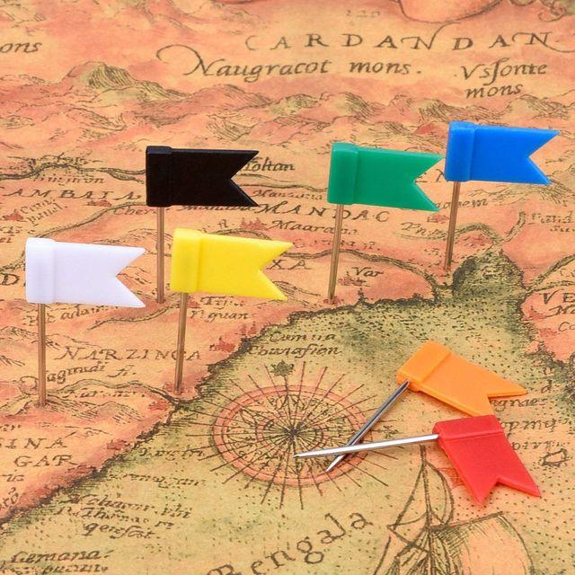 100pcs Lot Flag Vintage Multicolor Metal School Push Pins Notice board Map pins Wall thumb tacks relieuse Set office Accessory 2