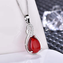 Silver Natural Stone Cubic Zirconia Choker Necklace Thin Chain Pendant Necklaces For Women Fashion Jewelry Gifts Bijoux Femme(China)