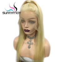 Sunnymay Brazilian Remy Lace Front Human Hair Wigs With Baby Hair 613 Lace Front Wigs Glueless Long Straight Human Hair Wigs