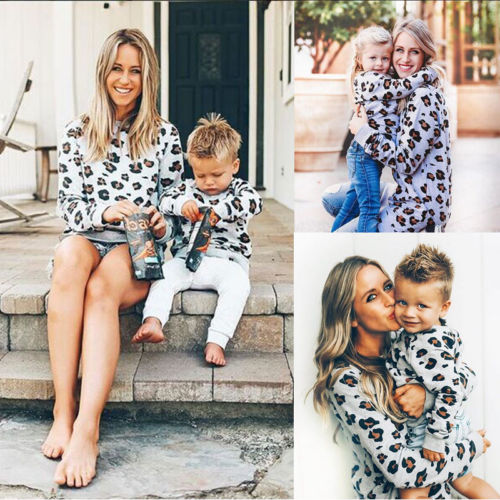 2019 New Fashion Leopard Mother And Daughter Son Family Matching Clothes Women Kids Baby Girl Sweater Shirt Tops Clothes Outfits