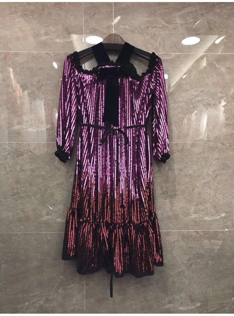 46880cfc0f0c Del Abbigliamento Primavera Largo Progettista 2019 Di Delle Estate Donne  Lusso Spalla Partito Al Abiti Femme Manica Nuovo Sexy ...