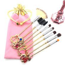 New Brand 7/8Pcs Gold Cardcaptor Sakura Sailor Moon Makeup Brushes Set Cosmetic Powder Foundation Eyeshadow Brush Make Up Tool