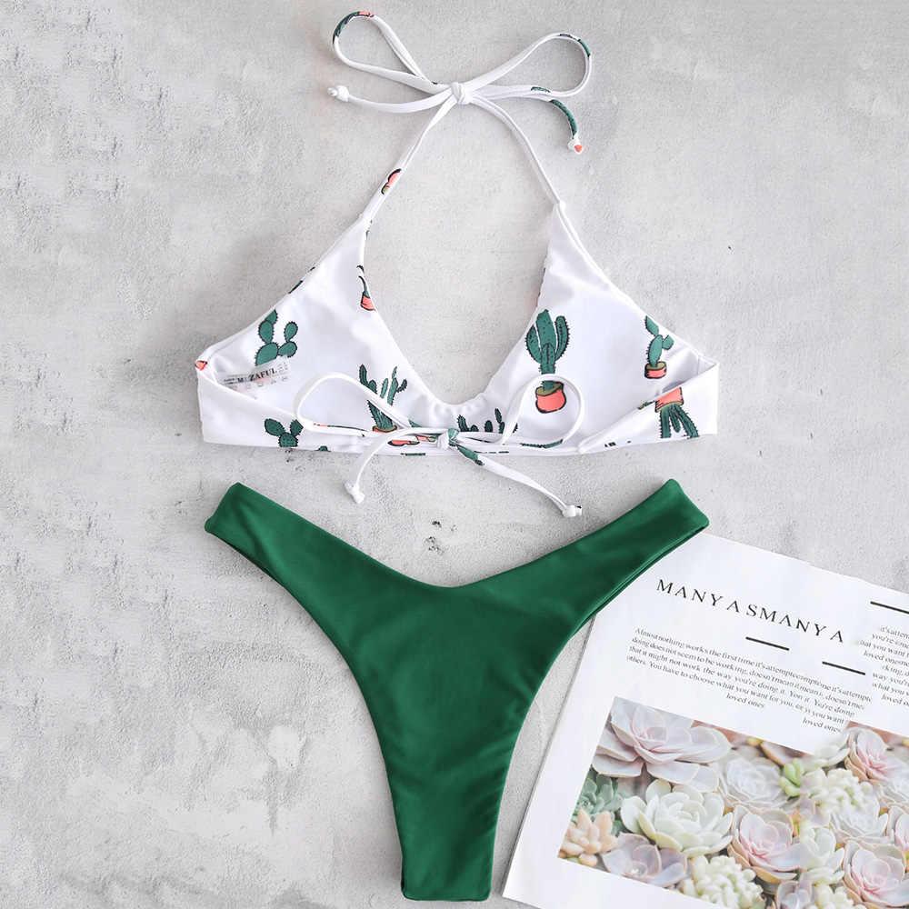 ZAFUL Halter kaktus drukuj Bikini Set stroje kąpielowe kobiety wysokie nogi strój kąpielowy Sexy wyściełane stringi Bikini wysoko wycięte strój kąpielowy biquini