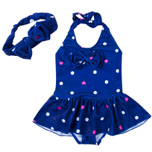 Summer 1-8 Years Old Baby Girls Swimwear Baby One Piece Swimsuit + Knot bow Headband 2pcs/Set Baby Cute Dot Bathing Suit