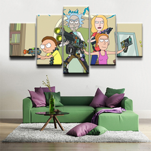 5 Panels Canvas Painting Animated Science Fiction Comedy Rick and Morty Poster Wall Art Modern Home Decor Picture