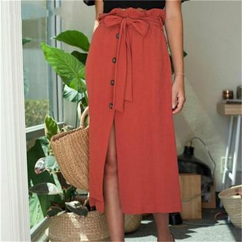 цена на Skirts Womens Fashion Womens Midi Skirt High Waist Front Slit  Button Bandage Summer Skirt Fashion New Hot Sale