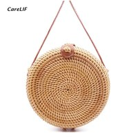 Round Straw Bag Wicker Purse Summer Beach Rattan Bags Handmade Woven Crossbody Sling Women Handbag